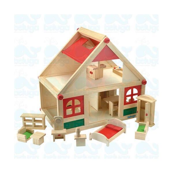 Beluga дървена къща за кукли с аксесоари
