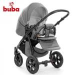 Buba Royal бебешка количка 3в1 сив лен