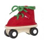 Дървена обувка на колела червена