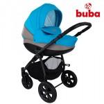 Бебешка количка Buba City 3в1 сиво/синьо